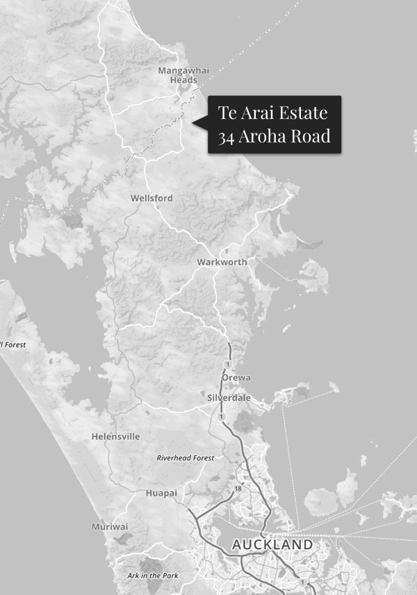 Map showing the location of Te Arai Estate at 34 Aroha Road